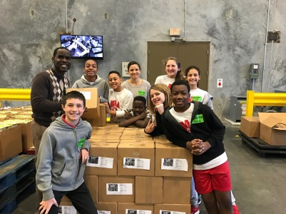 Second Harvest Food Bank volunteering with students. Donation Sorting.