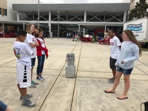 Students practice long-term Odd-a-Bot Problem